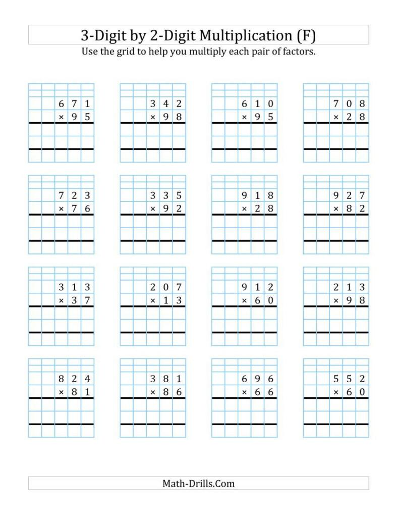 The 3 Digit2 Digit Multiplication With Grid Support (F Inside Multiplication Worksheets 3 Digit