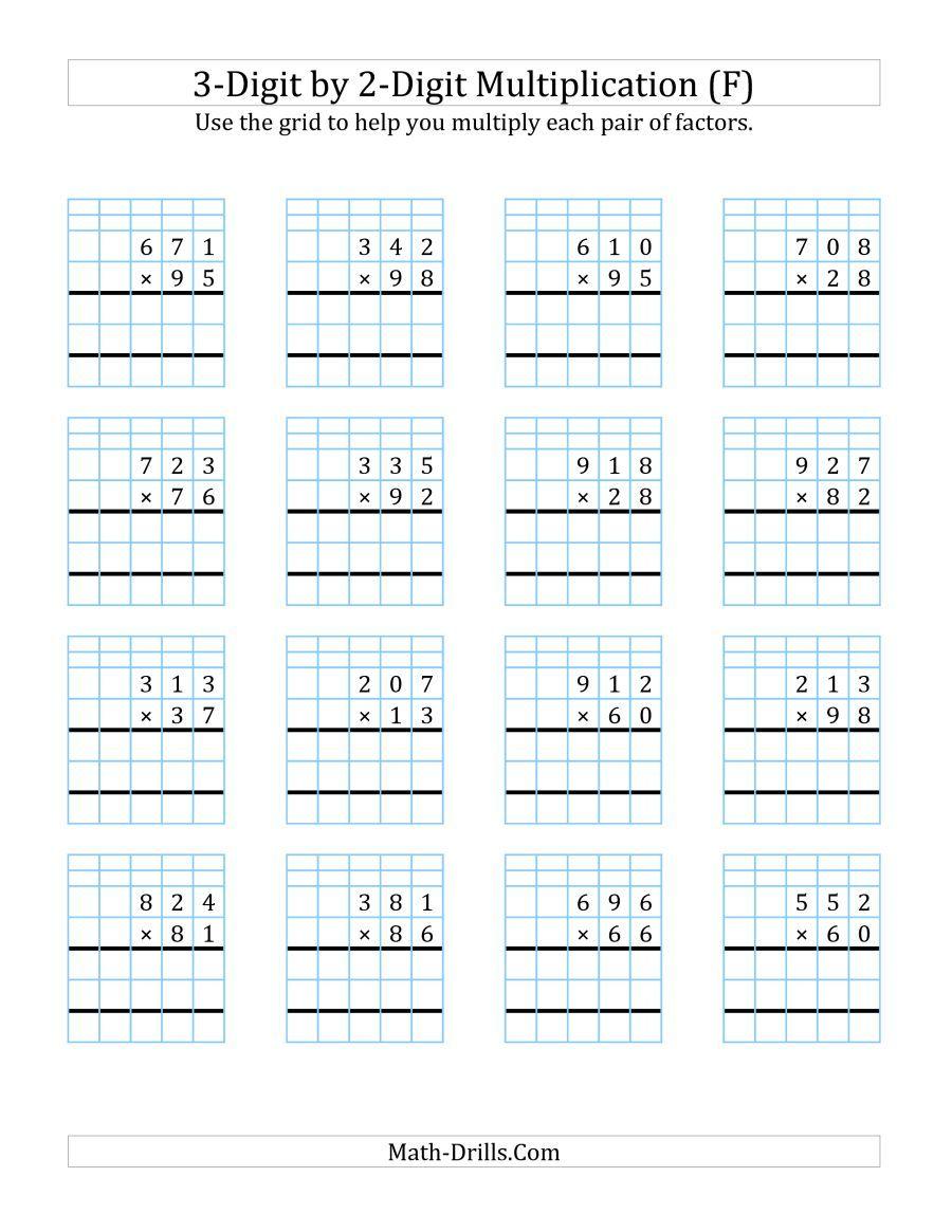 The 3-Digit2-Digit Multiplication With Grid Support (F inside Multiplication Worksheets 3 Digit