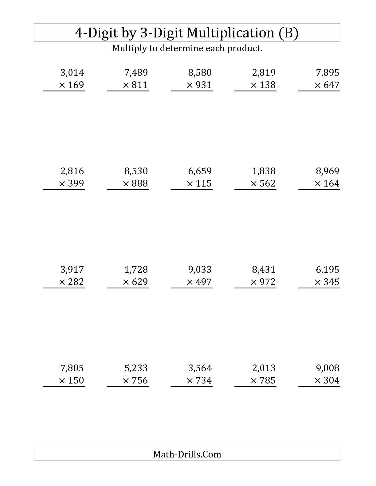 The 4-Digit3-Digit Multiplication (B) Long in Multiplication Worksheets 4 Digit By 3 Digit