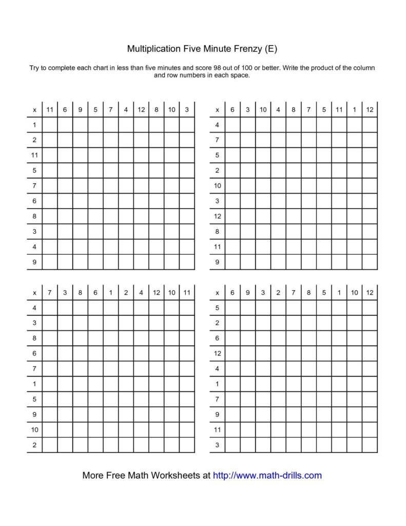 The Five Minute Frenzy    Four Per Page (E) Math Worksheet Throughout Printable 5 Minute Multiplication Drill