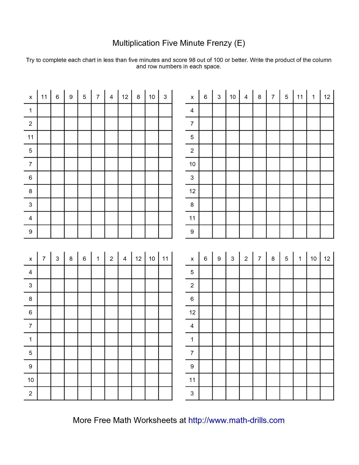 The Five Minute Frenzy -- Four Per Page (E) Math Worksheet throughout Printable 5 Minute Multiplication Drill