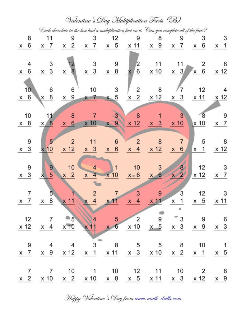 The Multiplication Facts To 144 (B) Math Worksheet From The Pertaining To Multiplication Worksheets Valentines