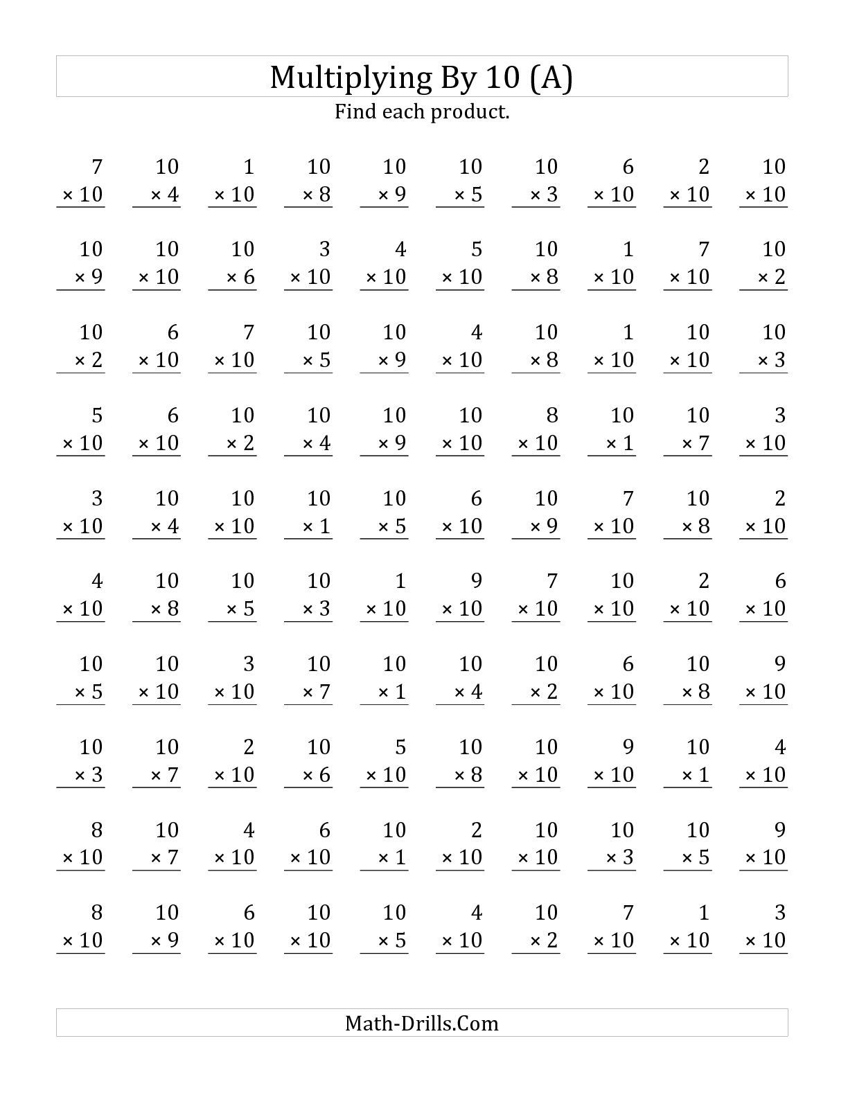 The Multiplying (1 To 10)10 (A) Math Worksheet From The with regard to Printable Multiplication Math Worksheets