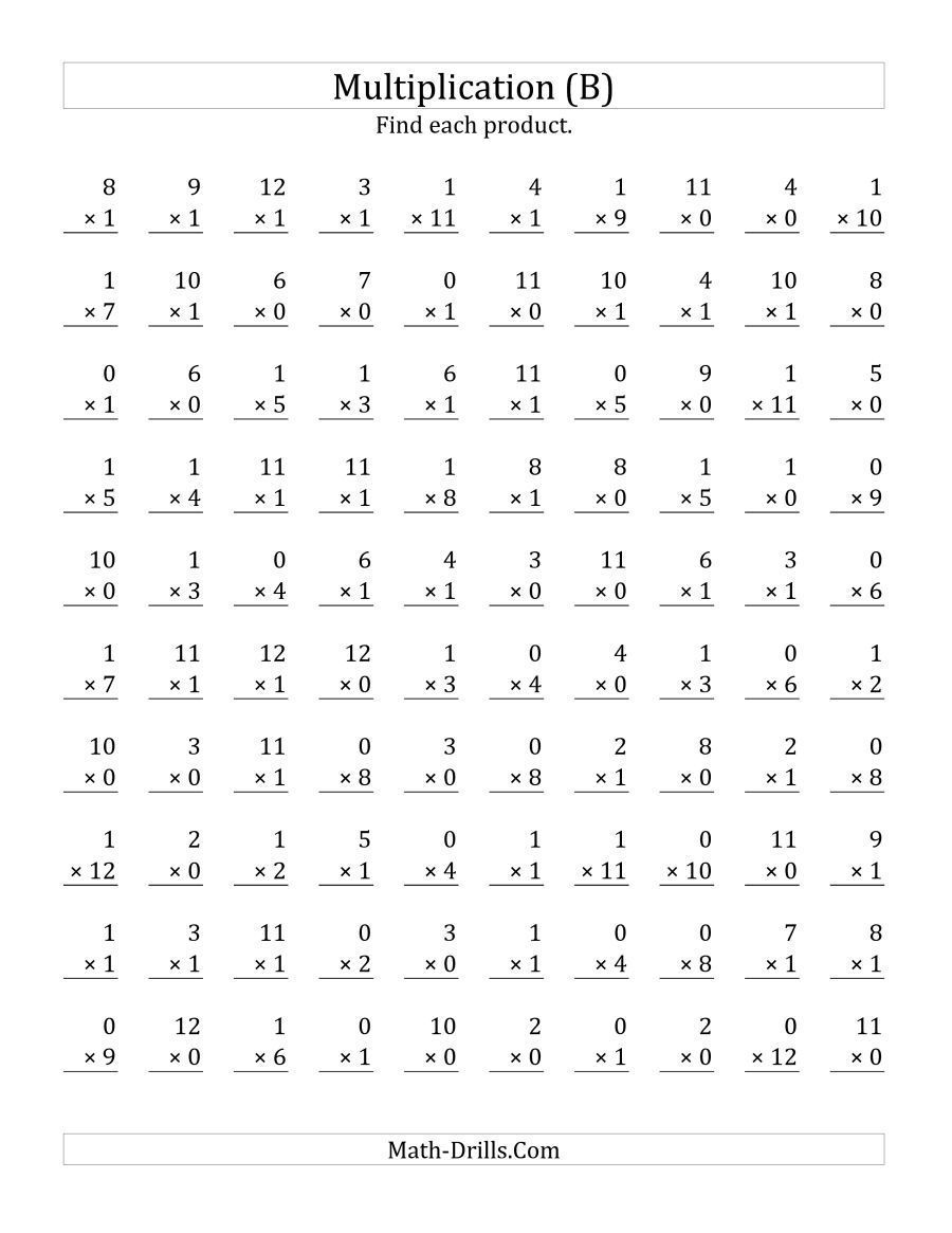 The Multiplying 1 To 120 And 1 (B) Math Worksheet inside Multiplication Printable 0