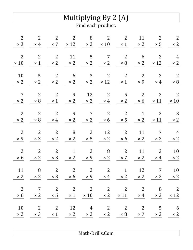 The Multiplying 1 To 122 (A) Math Worksheet From The For 2 Multiplication Printable