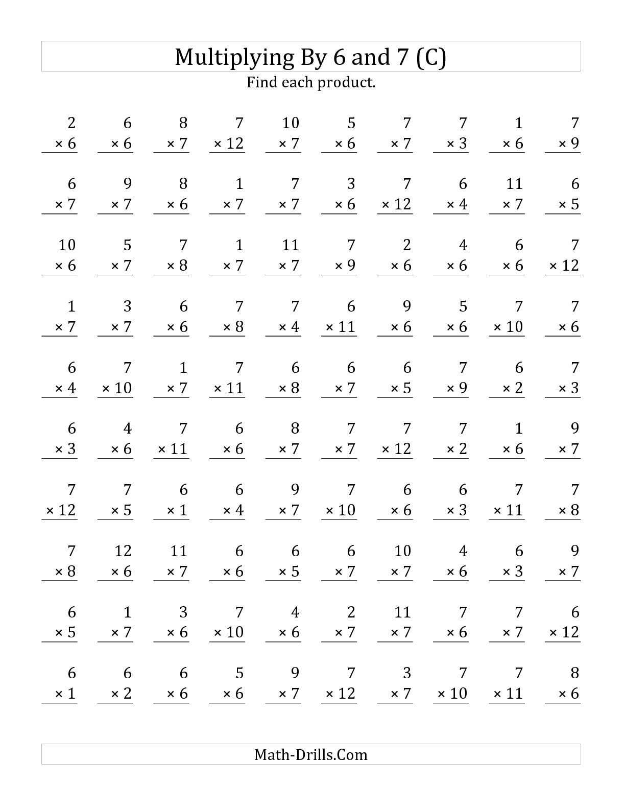 The Multiplying 1 To 126 And 7 (C) Math Worksheet From inside Multiplication Worksheets Up To 6