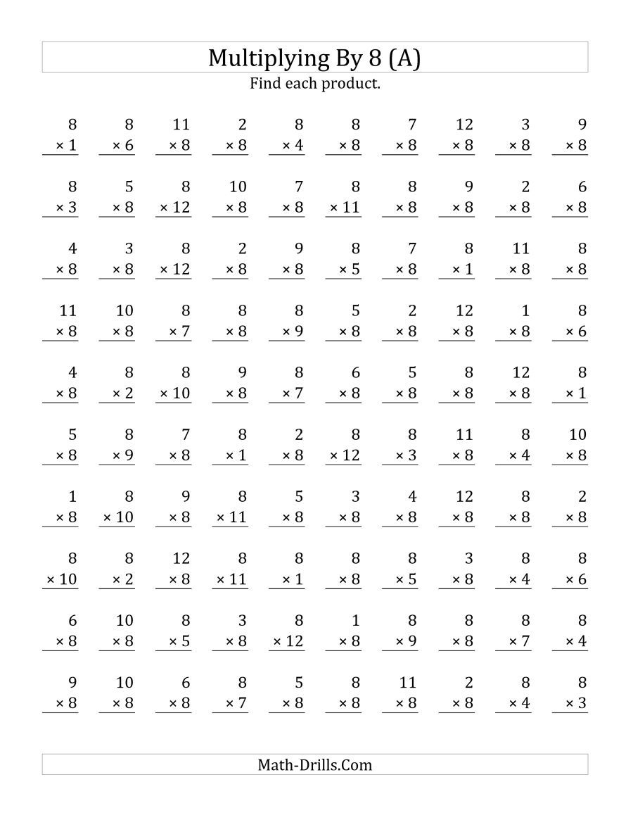 The Multiplying 1 To 128 (A) Math Worksheet From The for Printable Multiplication 8S
