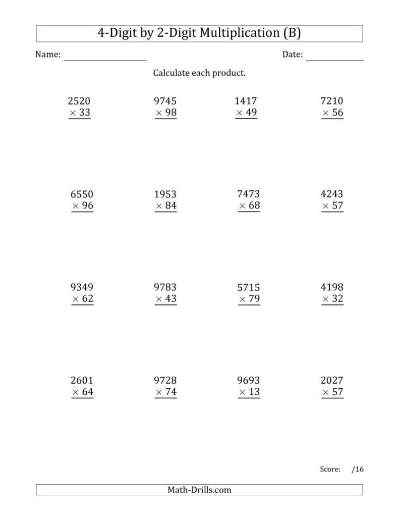The Multiplying 4 Digit2 Digit Numbers (B) Math In Multiplication Worksheets Multi Digit