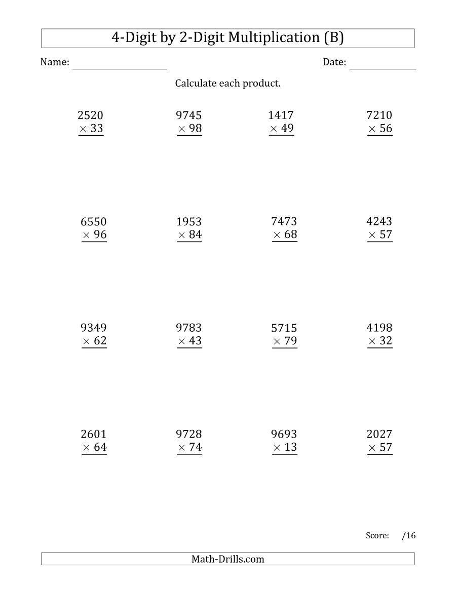 The Multiplying 4-Digit2-Digit Numbers (B) Math in Multiplication Worksheets Multi Digit