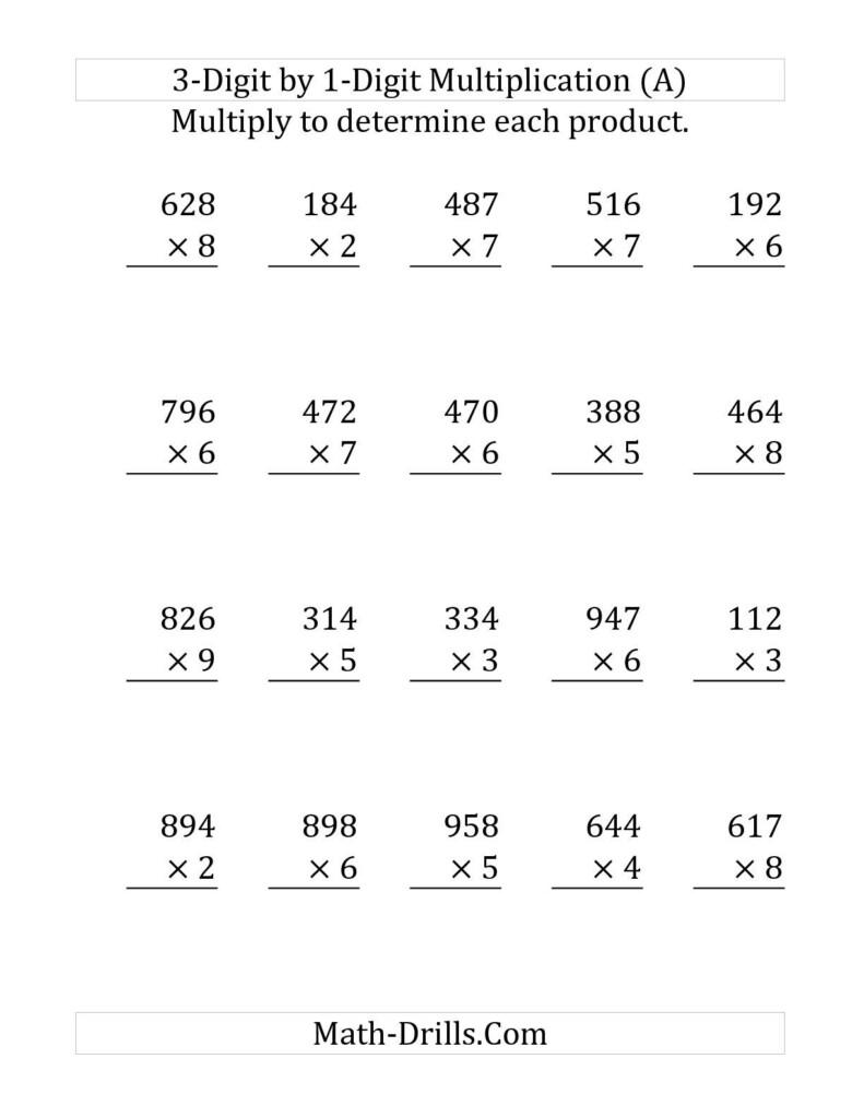 The Multiplying A 3 Digit Numbera 1 Digit Number (Large In Multiplication Worksheets 3 Digit By 1 Digit