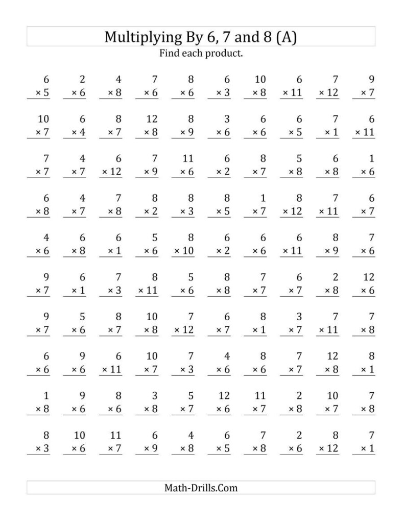Times Multiplication Worksheets 1 2 3 4 5 Table 6 7 8 9 Pertaining To Multiplication Worksheets 6 7 8