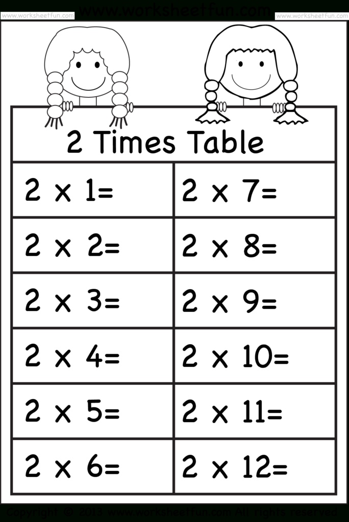 Times Tables Worksheets – 2, 3, 4, 5, 6, 7, 8, 9, 10, 11 And In Multiplication Worksheets 3 And 4 Times Tables