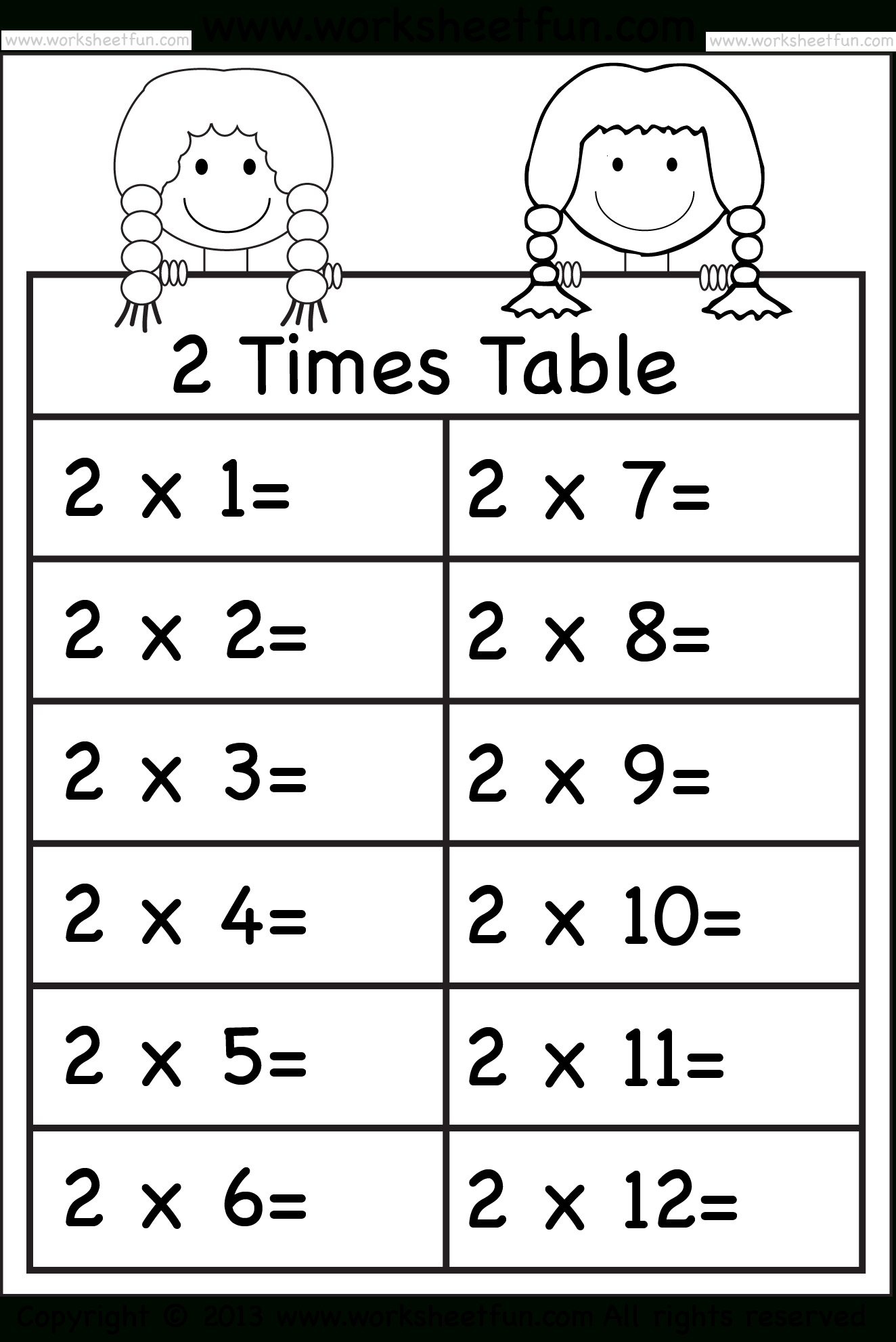 Times Tables Worksheets – 2, 3, 4, 5, 6, 7, 8, 9, 10, 11 And within Multiplication Worksheets 2 And 3 Times Tables