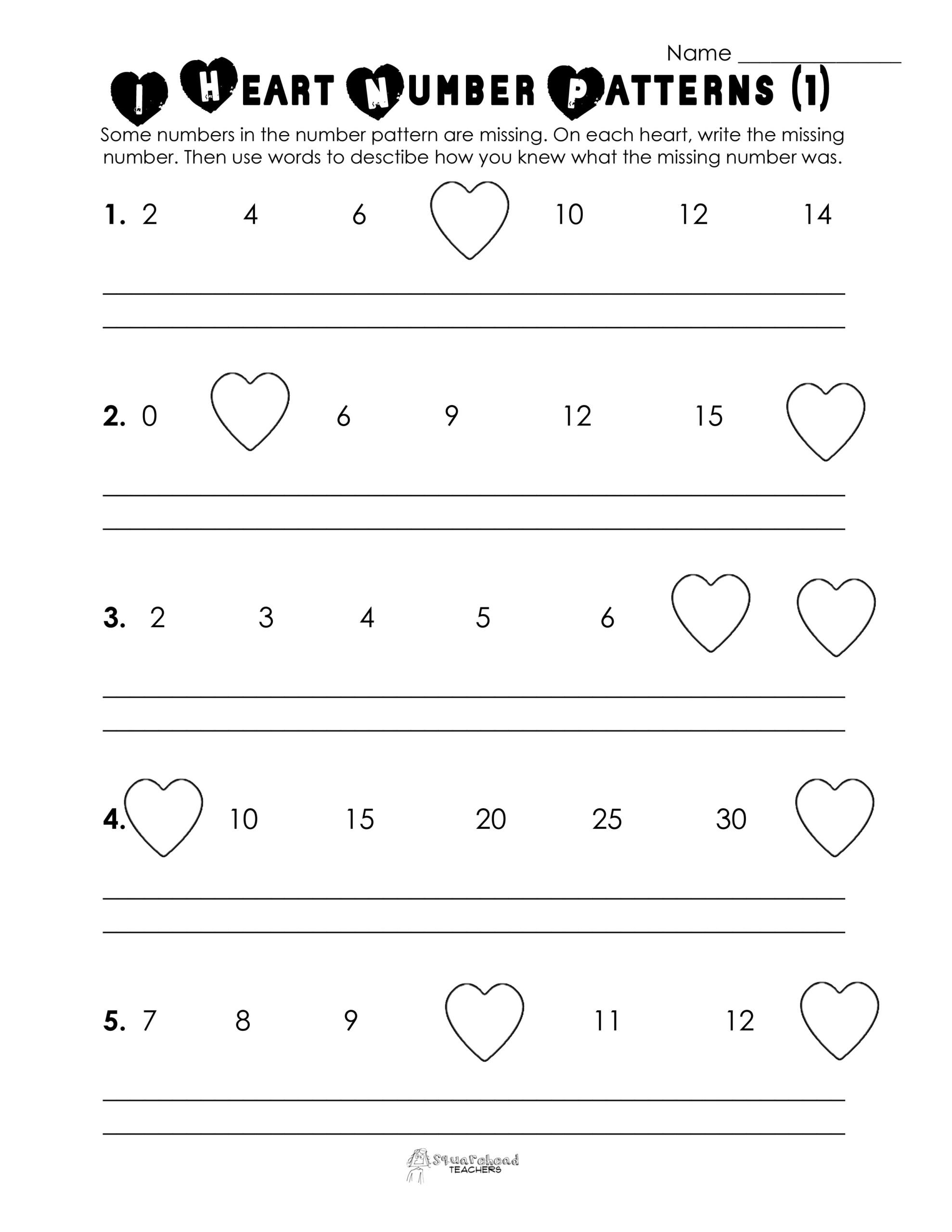 Valentine's Day Number Patterns (Free Worksheet intended for Multiplication Worksheets Valentines