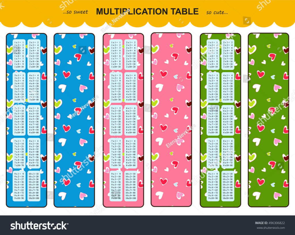 Vector Multiplication Table Printable Bookmarks Stickers For Printable Multiplication Bookmarks
