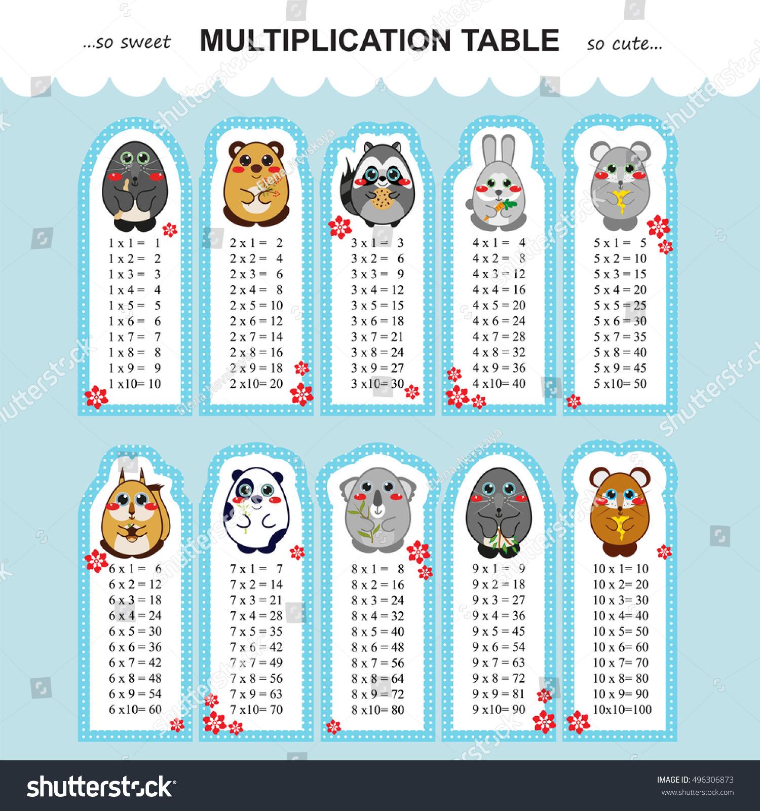 Vector Multiplication Table Printable Bookmarks Stickers for Printable Multiplication Bookmarks