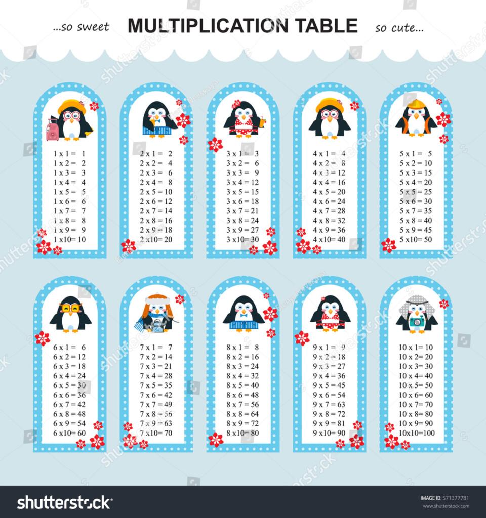 Vector Multiplication Table Printable Bookmarks Stickers Throughout Printable Multiplication Bookmarks
