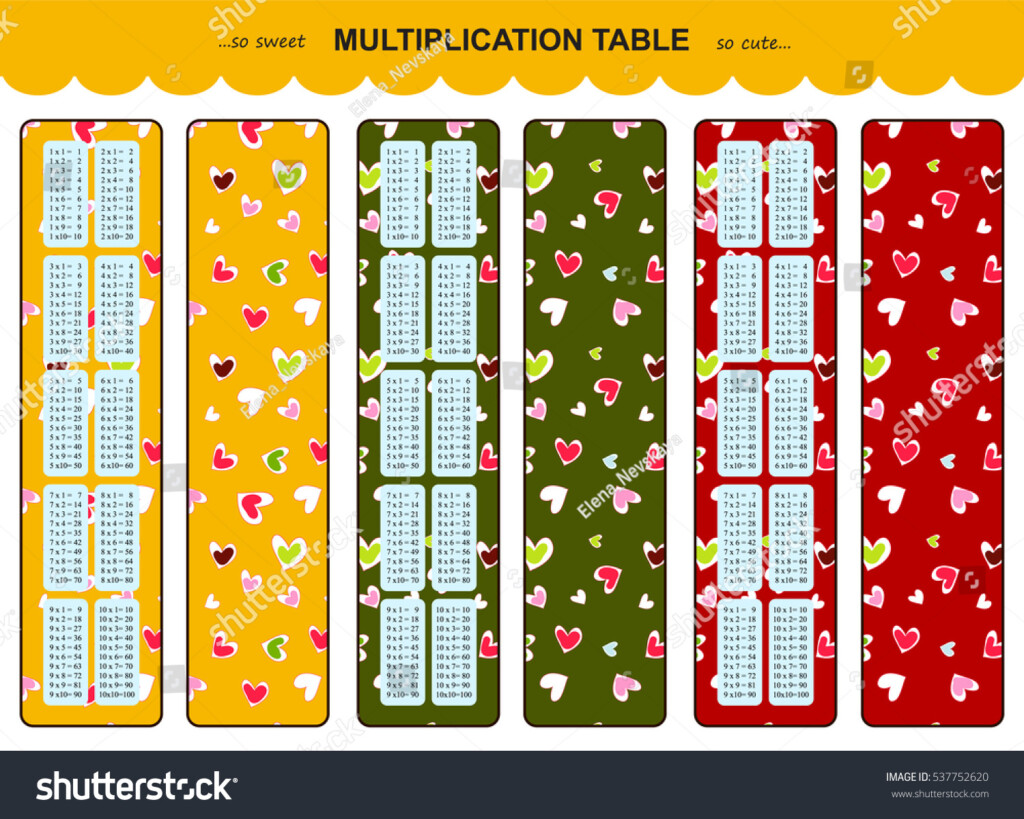 Vector Multiplication Table Printable Bookmarks Stickers With Regard To Printable Multiplication Bookmarks