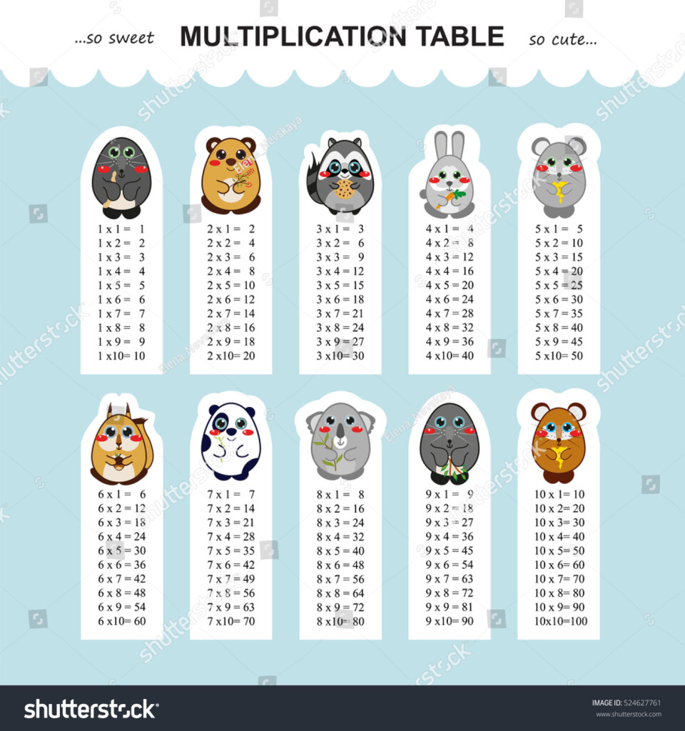 Vector Multiplication Table Printable Bookmarks Stickers Within Printable Multiplication Bookmarks