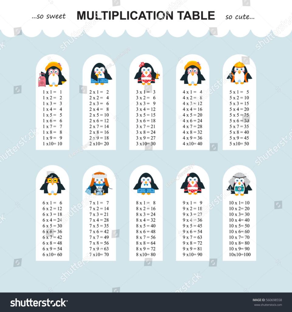 Vector Multiplication Table Printable Bookmarks Stickers Within Printable Multiplication Bookmarks