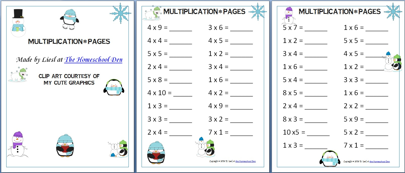 Winter Themed Multiplication Pages - Homeschool with Homeschool Multiplication Worksheets