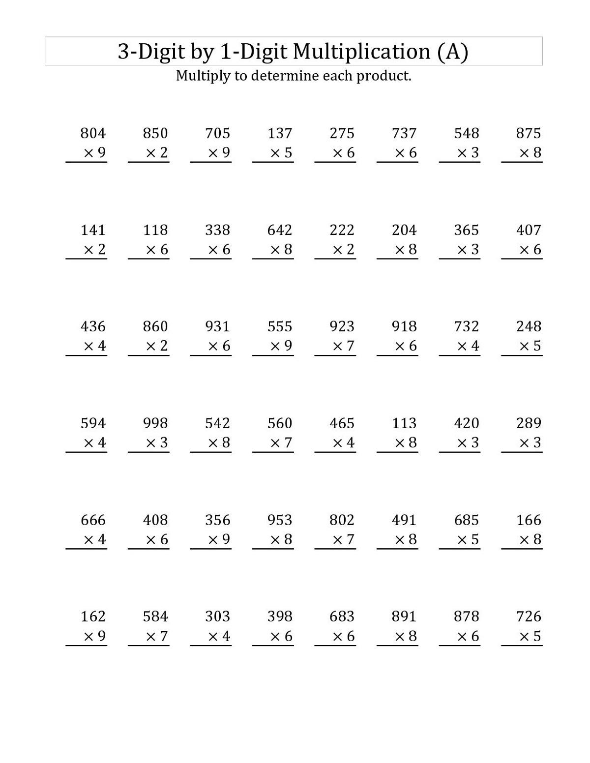 Worksheet For Class 3 On Multiplication | Printable inside Printable Multiplication By 3