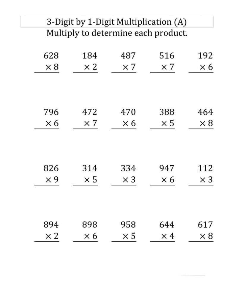 Worksheet Ideas ~ 4Th Grade Multiplication Worksheets Best For Multiplication Worksheets 4 Digit By 1 Digit