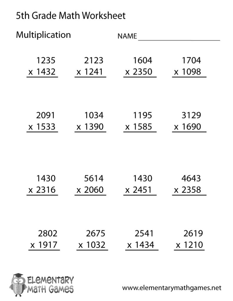 Worksheet Ideas ~ Free Printableon Worksheets 5Th Grade Math For Printable Multiplication Worksheets 5Th Grade