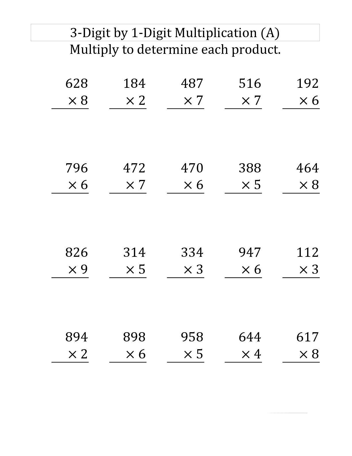 Worksheet Ideas ~ Multiplication Facts Worksheets For Third regarding Worksheets In Multiplication For Grade 3