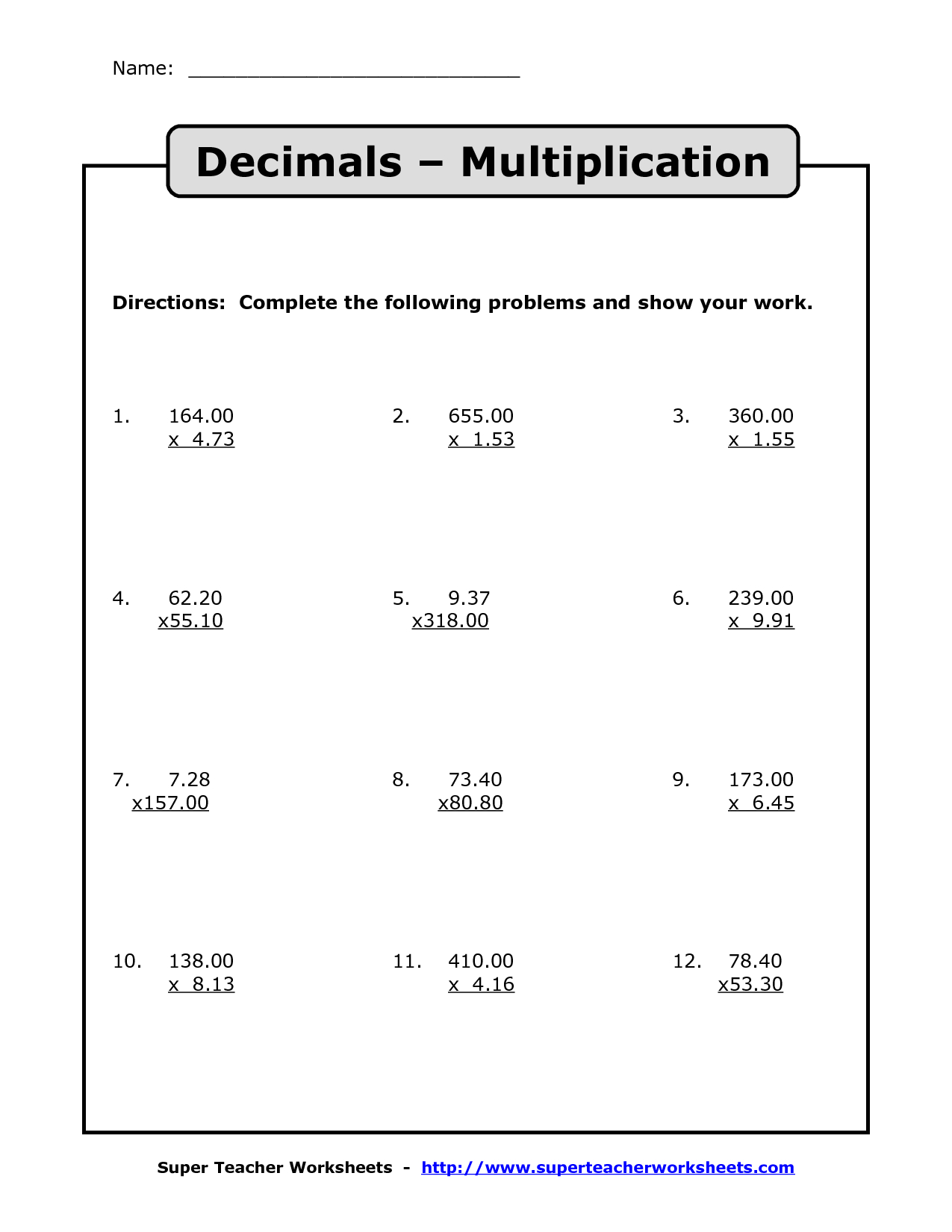 Worksheet Ideas ~ Multiplying And Dividing Decimals Lessons within Worksheets Multiplication Decimals
