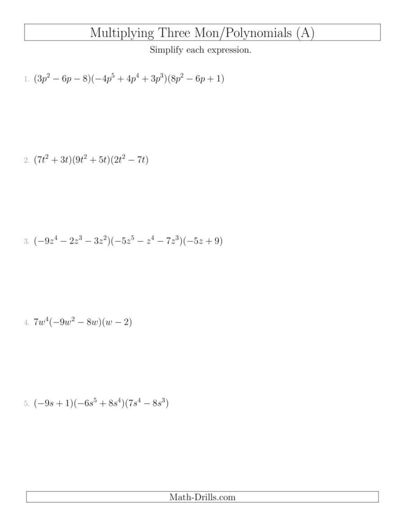 Worksheet Ideas Page 447: 51 Multiplying Polynomials In Worksheets About Multiplication Of Polynomials