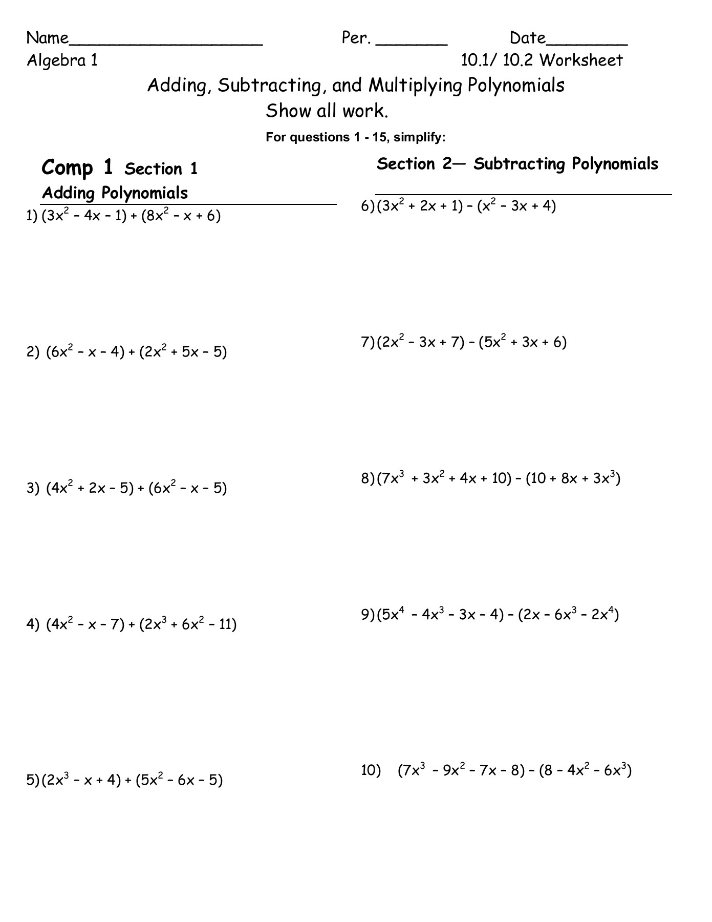 Worksheet Ideas Page 447: 51 Multiplying Polynomials intended for Worksheets About Multiplication Of Polynomials