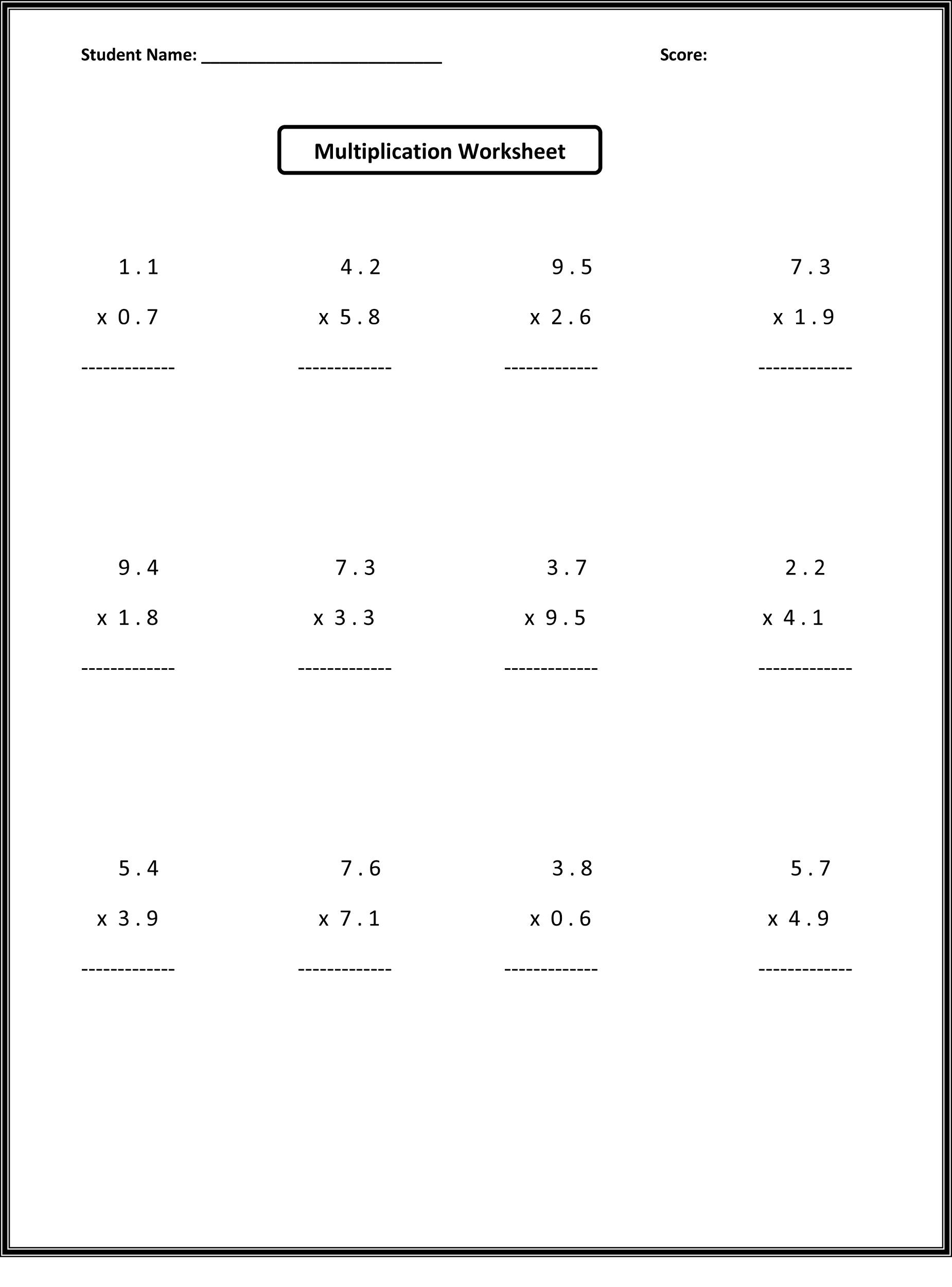 Multiplication Worksheets 6Th Grade Pdf ...