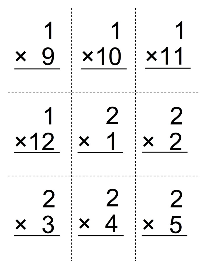 4th Grade Multiplication Flash Cards Online