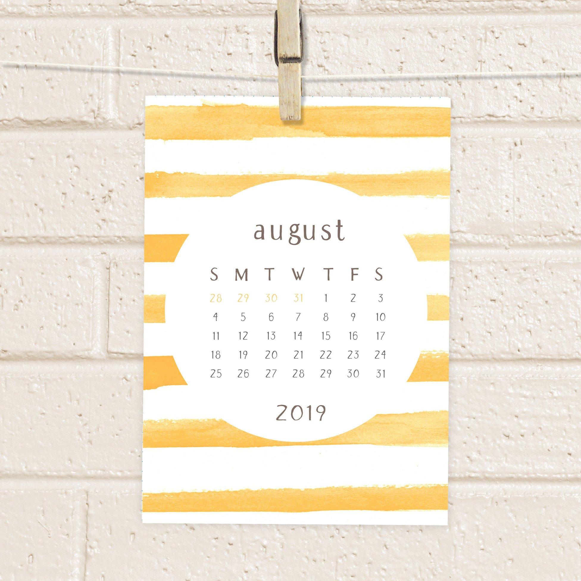 Calendar, 2019 Printable Watercolor Stripes Desk Calendar, Colorful Digital  Diy, 5X7