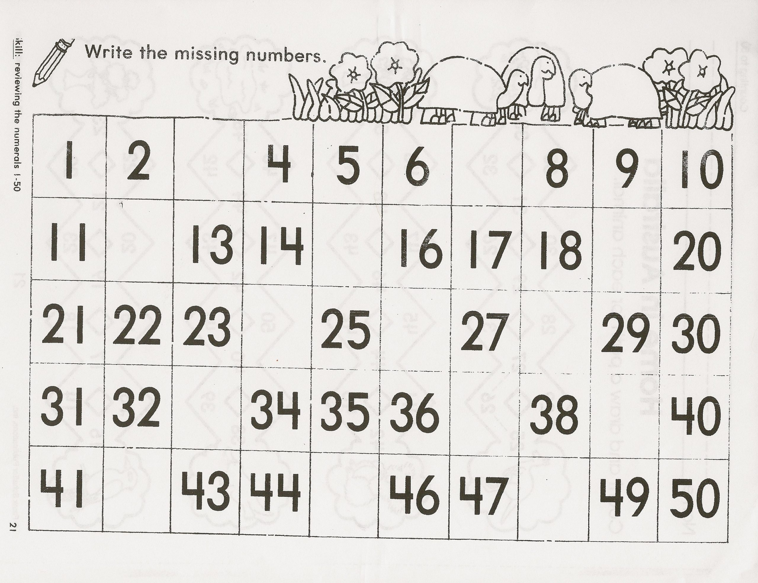 Chart With Missing Numbers Worksheet Printable Worksheets