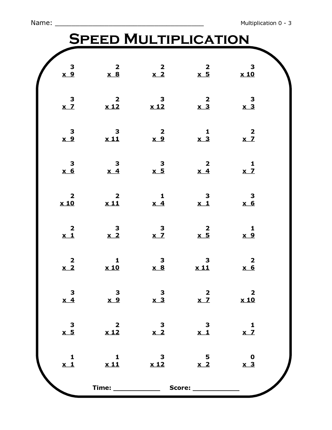 Free Times Table Worksheets | Activity Shelter