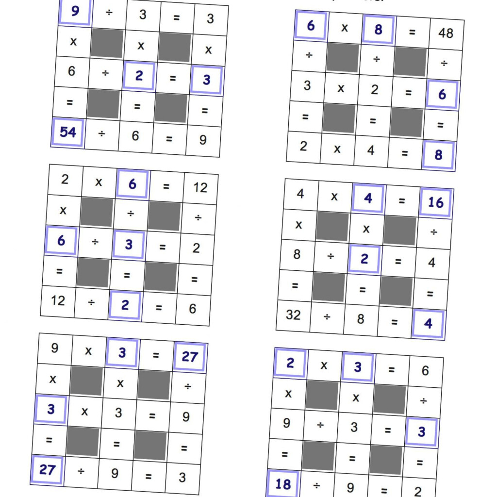 Grid Puzzles: Multiplication And Division With Missing