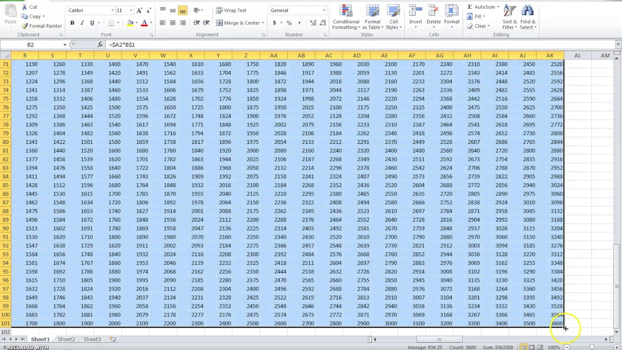 How To Create A Multiplication Table 1-100 In Ms Excel - Youtube