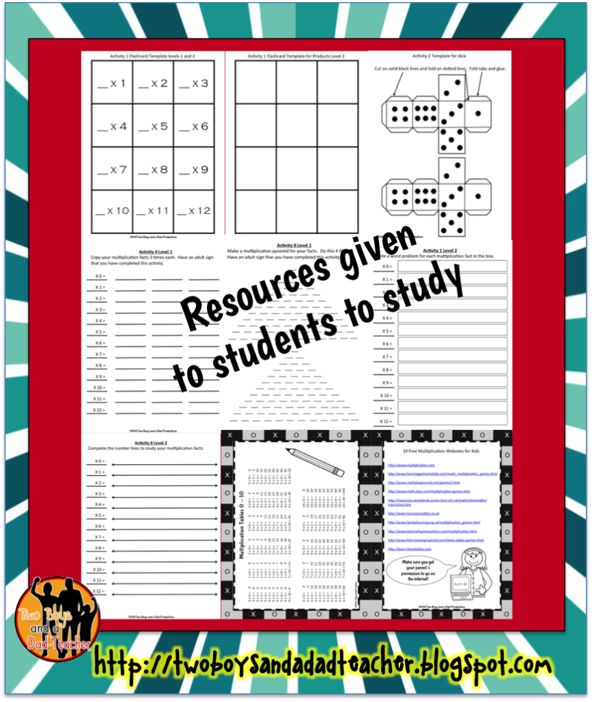 How To Get Students To Study The Multiplication Facts   Two