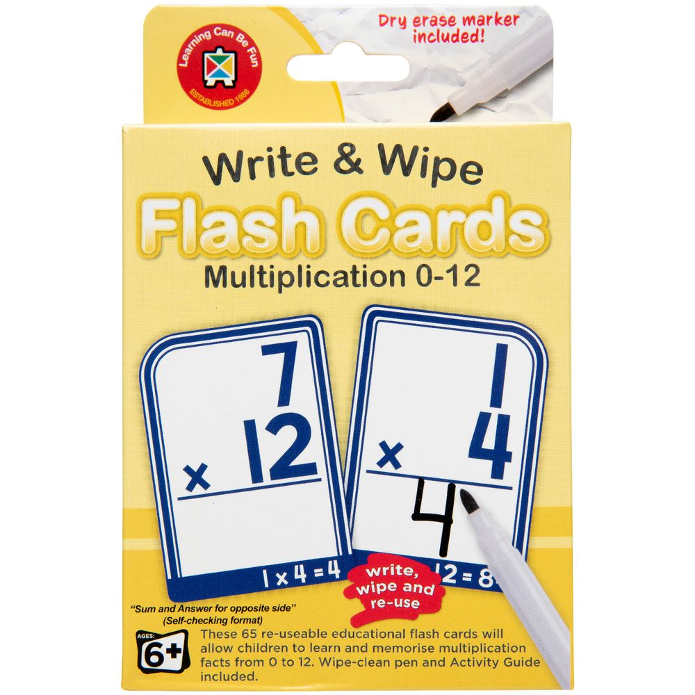 Learning Can Be Fun Write & Wipe Multiplication Flashcards