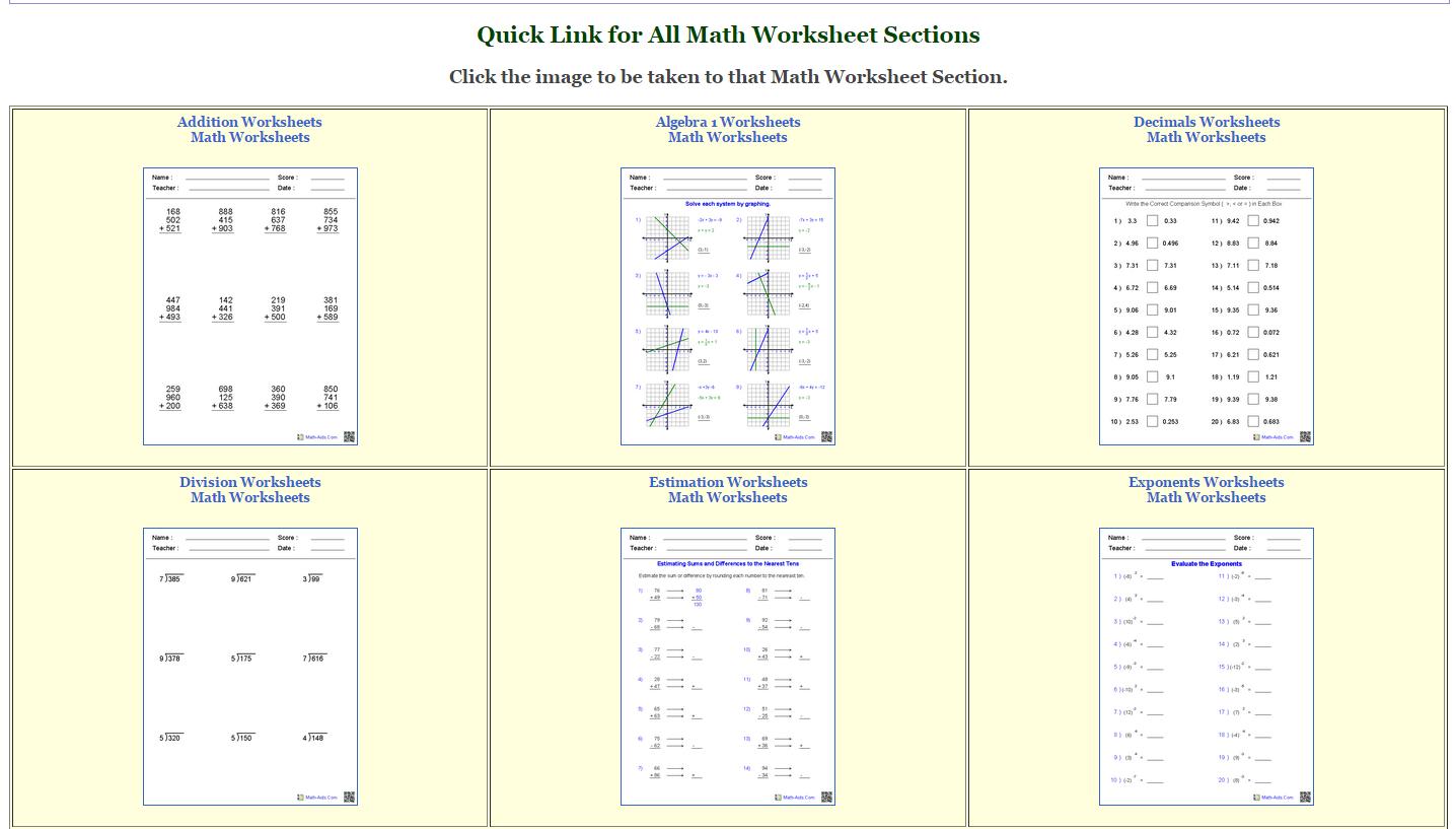 Math-Aids Worksheets | Teachezwell Blog