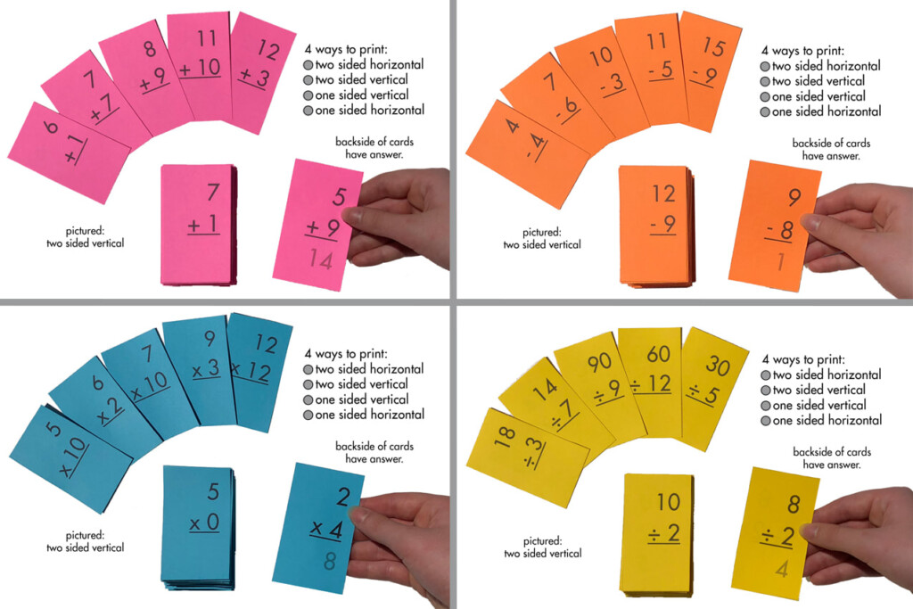 Math Flash Cards. All Facts Through 12. Addition, Subtraction