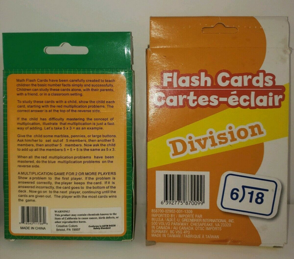 Math Flash Cards Subtraction Division Multiplication And Addition