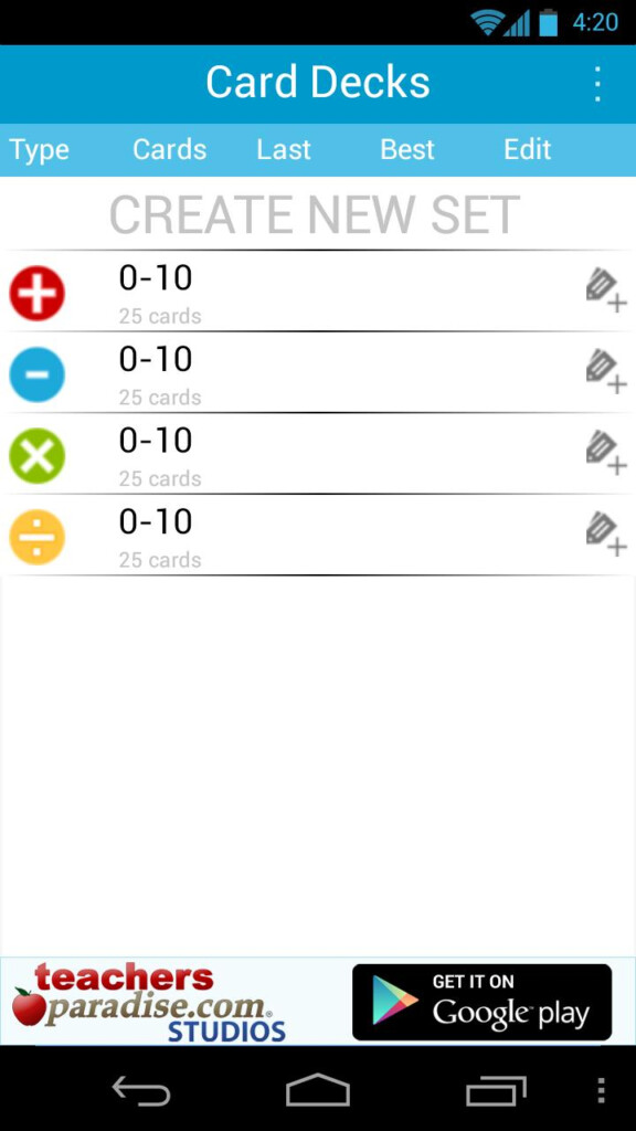 Math Practice Flash Cards For Android   Apk Download