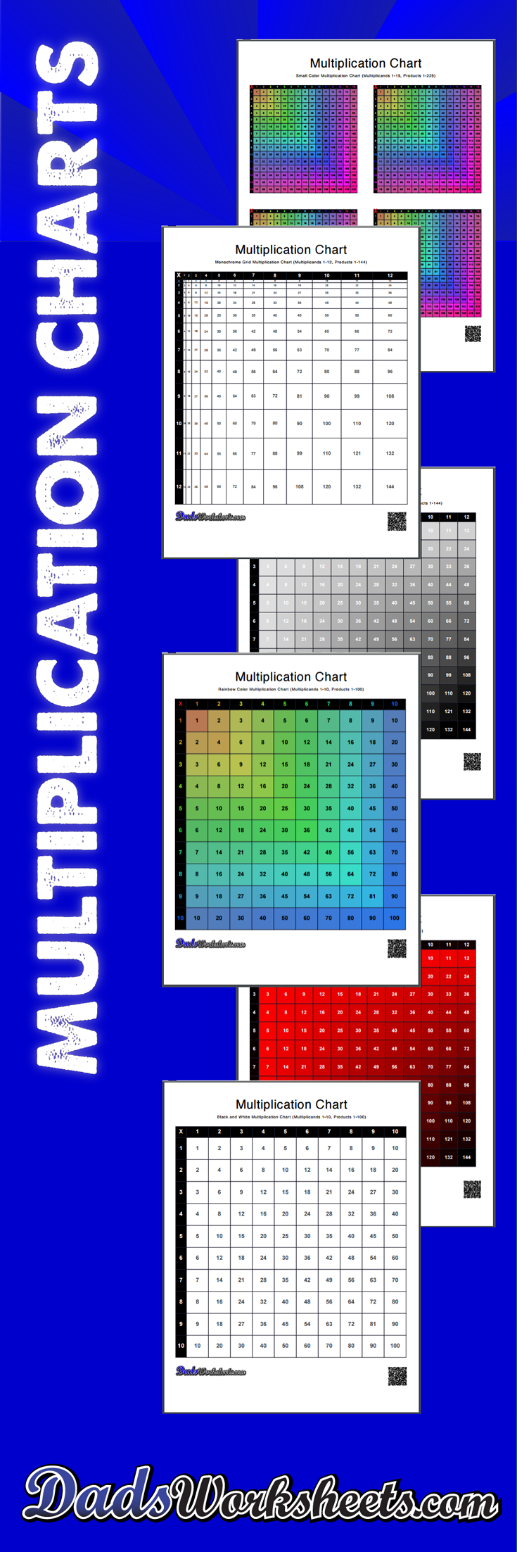 Multiplication Charts: 59 High Resolution Printable Pdfs, 1