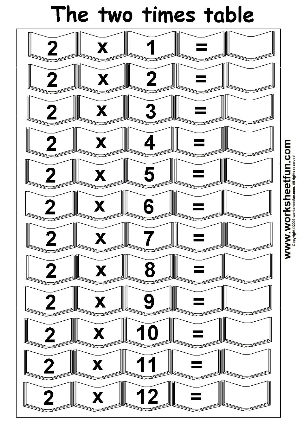 Multiplication Times Tables Worksheets – 2, 3, 4 & 5 Times