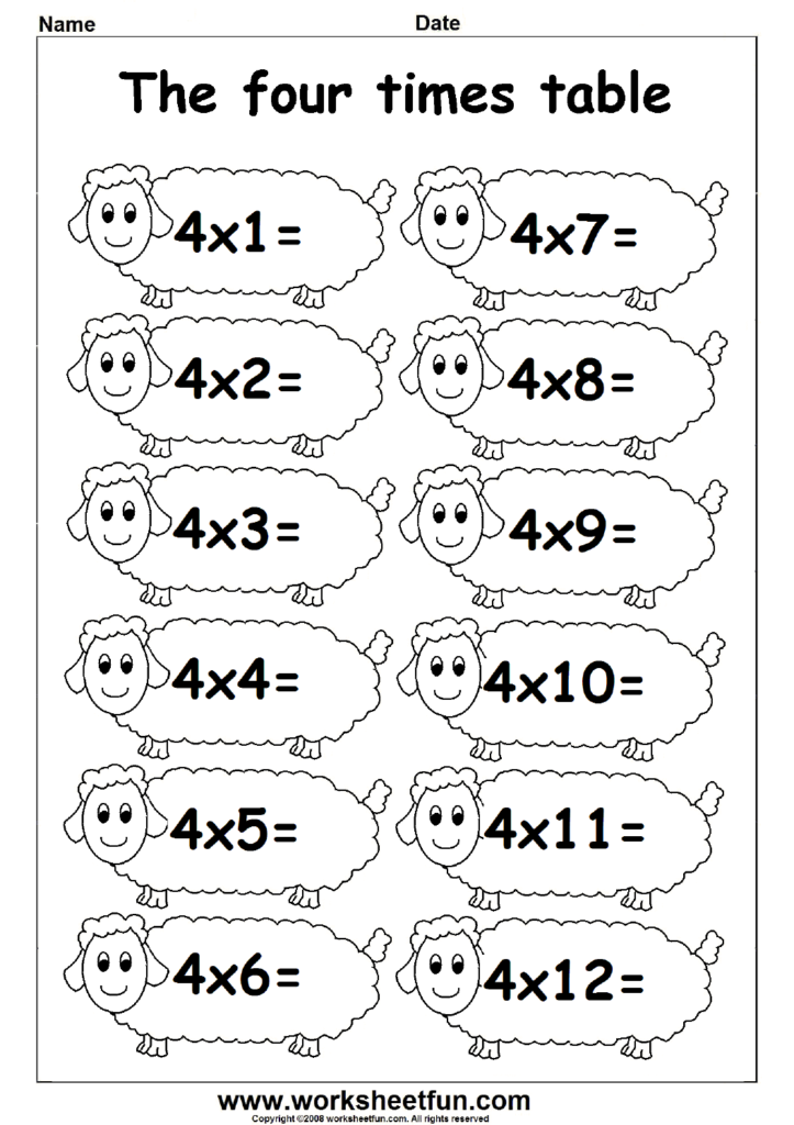 Multiplication Times Tables Worksheets – 2, 3 & 4 Times