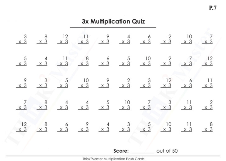 Multiplication Flash Cards 1-15