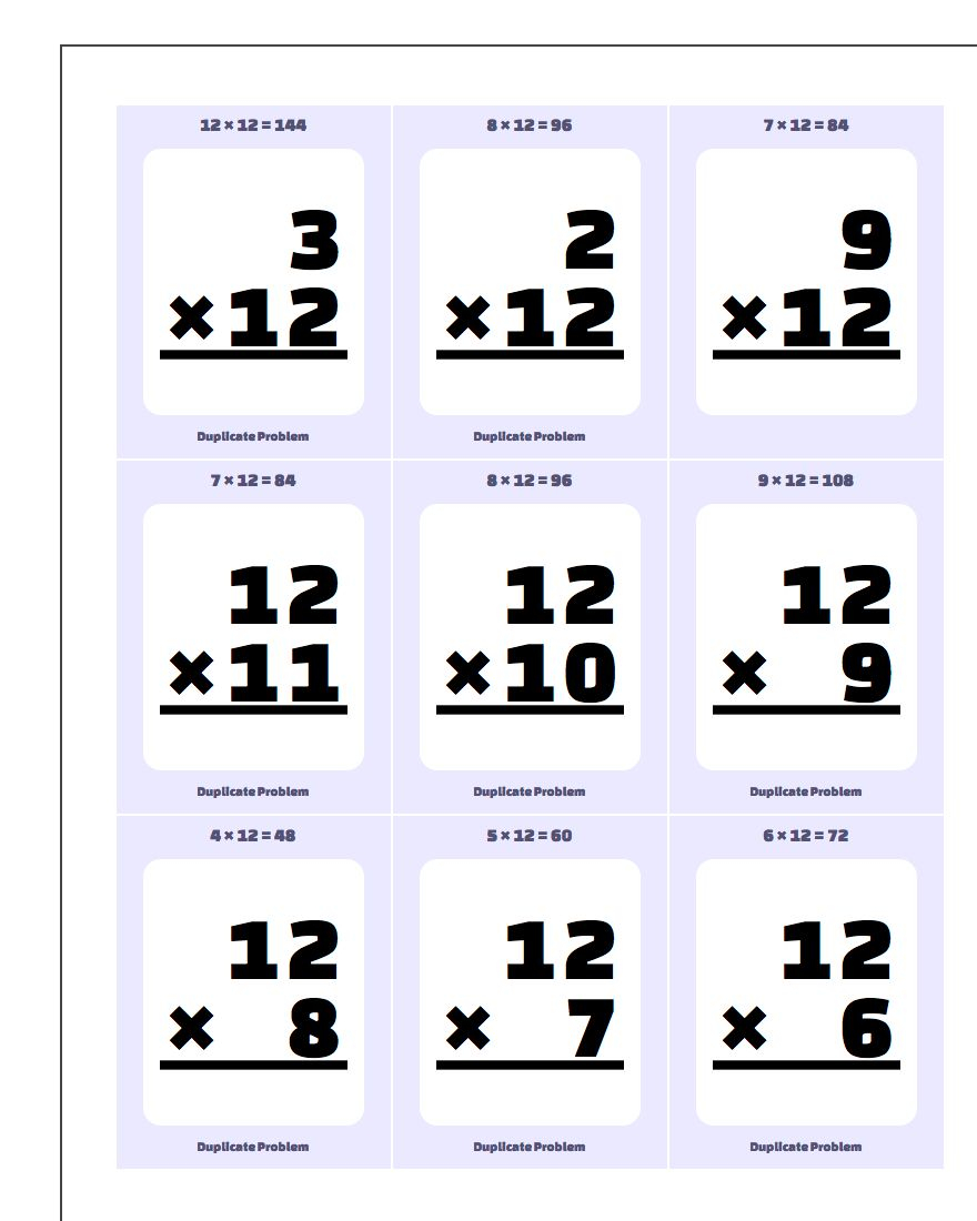 Multiplication10, 11, 12 Flash Cards